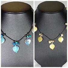 PILGRIM Halskette Kette Halsreifen,Modeschmuck,Blätter,Gold,Grün, Leder, Schwarz