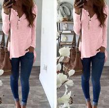 New Long Sleeve Blouse Shirt Tops Stylish Irregular Hem Buttons Casual Women's