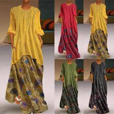 Plus Size Women Retro Fake Long Sleeves Solid Linen O-Neck Maxi Printed Dress CA