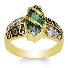 JamesJenny 10K Yellow Gold Marquise Emerald CZ 2016 Graduation Ring Size 4-9
