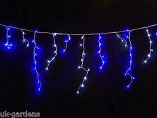 LIGHT Up Bright Blue & white LED snowing ICICLE LUCI-DECORAZIONE NATALIZIA