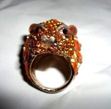 CHUNKY LION BEAR HEAD RING ORANGE CHAMPAGNE AUSTRIAN CRYSTALS GOLDTONE SZ 7 8 10