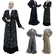 Dubai Arab Women Muslim Maxi Dress Islamic Abaya Cardigan Vintage Ladies Robe