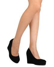 New Women Qupid Trail-14 Nubuck Round Toe Platform Wedge Heel