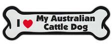 Dog Bone Shaped Car Magnets: I LOVE MY AUSTRALIAN CATTLE DOG