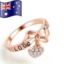 Stunning Love You Bowknot Rose Gold 18K CZ Heart Dangle Charm Ring Women's Gift