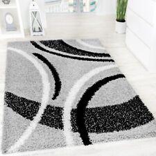 Shaggy Rug Modern Design Carpet High Long Pile Patterned Style Grey Black White