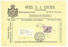 NEDERLAND 1913  RECLAME  DRUKWERK  IJMUIDEN   VISGROOTHANDEL  ½ CENT   F/ VF