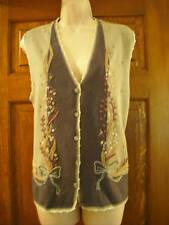 Embroidered Sweater Vest Sage Green, Lt Blue S M  Koret