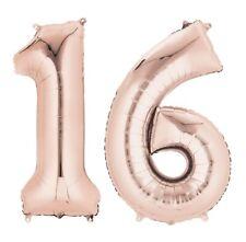 doré rose âge 16 ans hélium géant Ballon PLAT CHIFFRES 16th Fête d'anniversaire