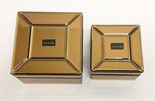 NEW MAX STUDIO SQUARE GOLD,BRONZE MIRROR GLASS+RESIN JEWELRY,TRINKET BOX