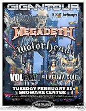 MEGADETH / MOTORHEAD / VOLBEAT / LACUNA COIL 2012 SEATTLE CONCERT TOUR POSTER