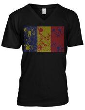 Romania Distressed Paint Splatter Country Flag - Romanian Mens V-neck T-shirt