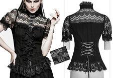 Chemise gothique lolita baroque dentelle rayures agrafes corset volants Punkrave