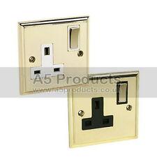 13A Wall Single Plug Socket 1 Gang Polished Mirror Brass (Gold Effect) Victorian