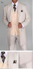 "Men's 3 piece Milano Moda 35"" Zoot Suit with Herring bone Design Suit 3106 Sand"