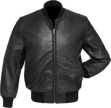 Black Real Pure Leather Varsity Letterman College Baseball Bomber Jacket Zipper