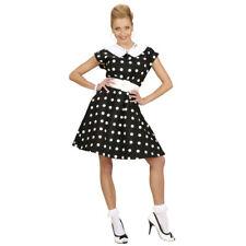 50er anni Sottoveste abito rockabilly costume da donna bianco-nero a puntini