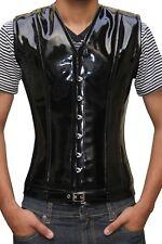 Man Black Pvc Real Steel Bones Lace Up Back Front Busk Vest Lined Corset