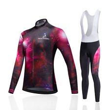 Womens Bicycle Clothing Set Cycling Long Sleeve Jersey Padded Bib Pant Kit S-5XL
