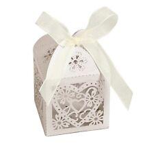 20 x Wedding Heart Lace Bomboniere Candy Box Treat Sweets Favours Various Colour