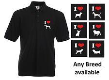 Dog Breeds Unisex Black Polo Shirt. Fun Dog Pet T Shirt Free UK Postage