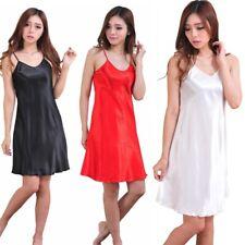Women Strappy Sleep Dress Sleeping Dress Nightdress Solid Sleepwear Robe Pajamas