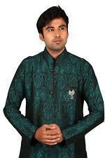 Beautiful Peacock Green Indian Kurta Pajama Sherwani for Men