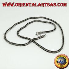 Collana in argento 925, maglia snake sezione quadrata di cm 46