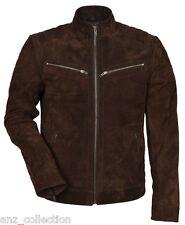 Jonny Men's Supple Brown Soft Suede Fashion Biker Stand Collar Premium Jacket