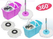 360 ° Giratorio fácil escurrir Spin Spinning Fregona Piso Cubo Set 2 cabezales de microfibra