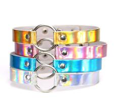 Shiny Laser O-Ring Dog Collar Choker, Cyber Goth Punk Raver Fetish Club Jewelry