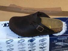 Birkenstock Boston FL Pantofola Zoccoli bambini AVANE marrone scuro pelle NUOVO