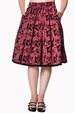 Bordeaux Phoenix Cat Kitty Floral Vintage Retro Rockabilly Skirt Banned Apparel