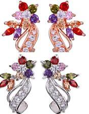 Statement Rhodium Rose Gold Flower Waterdrop Cubic Zirconia Stud Earrings Box PE