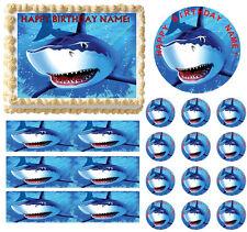 SHARK Edible Cake Topper Frosting Sheet - 1/4, 1/2, Strips, Round, Cupcake Sizes