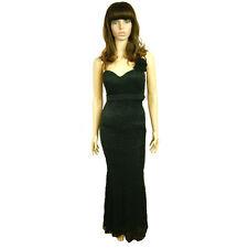 Gorgeous Ladies Womens Black Diamond Studs Metallic Floral Long Evening Dress