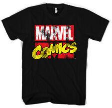 T-shirt HOMME NOIR MARVEL COMICS Taille S XXL hulk iron man captain america thor