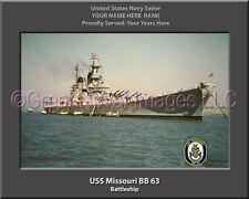USS Missouri BB 63 Personalized Canvas Ship Photo Print Navy Veteran Gift