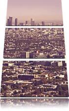 Los Angeles City Skyline 3-Teiler Leinwandbild Wanddeko Kunstdruck