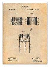 1886 Bemis Snare Drum Patent Print Art Drawing Poster 18X24