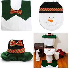 Christmas Happy Toilet Seat Cover Rug Bathroom Mat Xmas Home Decoration Set HC