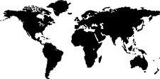 "Big Global World Map Atlas Vinyl Wall Decal 12"" X 24"""