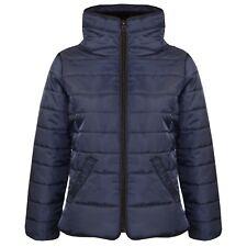 Kids Girls Jacket Navy Padded Puffer Bubble Faux Fur Collar Warm Coats 5-13 Year
