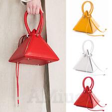 Ladies Solid Triangle Handbag Pyramid Bag Evening Tote Wallet Chain Shoulder Bag