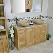 Bathroom Vanity Twin Set Cabinet Double Twin Sink Bowl Basin & Travertine Unit