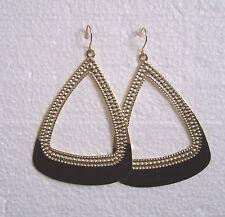 Big Gold/Black Triangular Earrings - Pierced or Clip-on