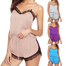 Womens Sleepwear Sleeveless Strap Nightwear Lace Trim Satin Cami Pajama Set CA