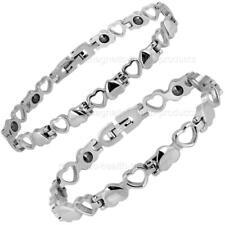 femmes Bracelet magnétique acier inoxydable cœurs - ARTHRITE Soulagement Douleur