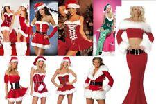 LADIES FATHER CHRISTMAS SANTA CLAUS PIXIE ELF COSTUME XMAS SIZE 6-14